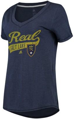 adidas Women's Navy Real Salt Lake Tail Stack V-Neck T-Shirt