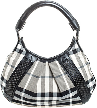 Burberry Black/White Studded House Check Canvas and Leather Phoebe Hobo