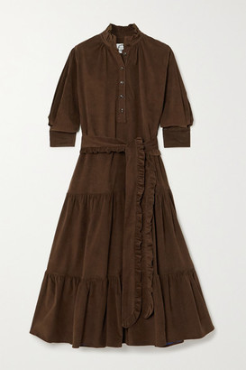 Evi Grintela Phoebe Belted Tiered Cotton-corduroy Midi Dress - Brown