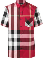 Burberry checked shortsleeved shirt - men - Cotton/Polyamide/Spandex/Elastane - S