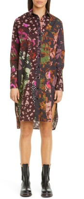 Fuzzi Floral & Dot Print Long Sleeve High/Low Shirtdress
