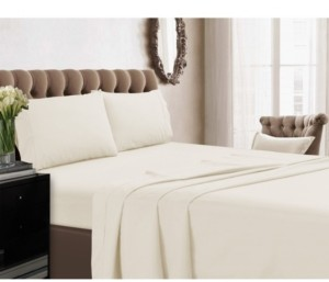 Tribeca Living 350 Thread Count Cotton Percale Extra Deep Pocket Full Sheet Set Bedding