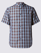 M&s Collection Easy Care Checked Shirt With Pocket