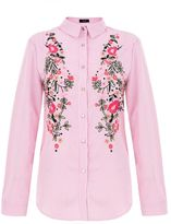 Quiz Pink And White Stripe Embroidered Shirt