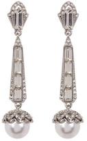 Jenny Packham Emerald Cut Crystal & Simulated Pearl Linear Drop Earrings