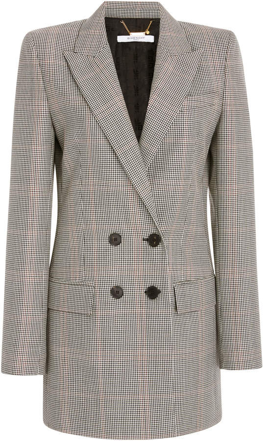 Givenchy Double-Breasted Plaid Wool-Crepe Blazer