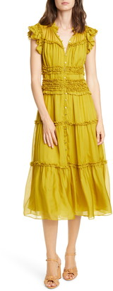 Ulla Johnson Rosalind Ruffle Tier Silk Midi Dress