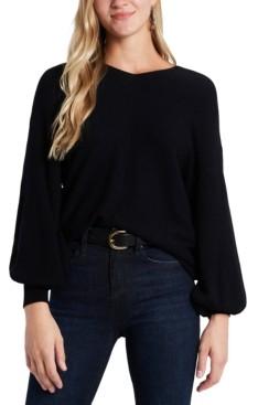 1 STATE Rib-Knit Puff-Sleeve Sweater