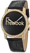 Freelook Women's HA8158G-7 Gold Tone Swarovski Bezel Dial Leather Band Watch