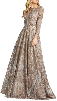 Mac Duggal Sequins & Floral Lace Long-Sleeve Novelty Ball Gown