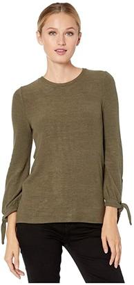 Lucky Brand Tie Sleeve Cloud Jersey Top (Grapeleaf) Women's Clothing
