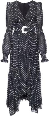 PatBO Polka-Dot Belted Midi Dress