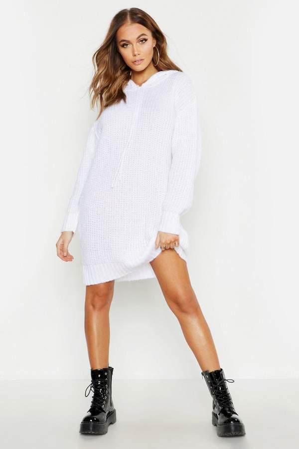 boohoo Oversized Soft Knit Hooded Sweater Dress