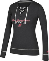 adidas Women's Heathered Black New Jersey Devils Skate Through Long Sleeve Lace-Up V-Neck T-Shirt