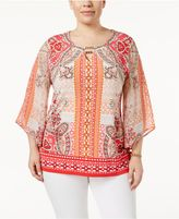 JM Collection Plus Size Bell-Sleeve Printed Top, Created for Macy's