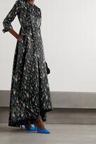 Erdem - Helenium Asymmetric Pleated Floral-print Satin-twill Gown - Black