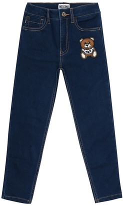 MOSCHINO BAMBINO Teddy stretch-cotton skinny jeans