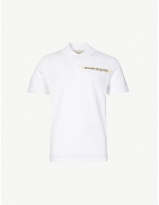 Alexander McQueen Logo-tape cotton-pique polo shirt