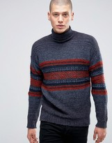 Sisley Roll Neck Jumper With Fairisle Detail