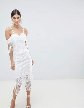 C By Cubic Strap Bandeau Sheer Midi Dress-White