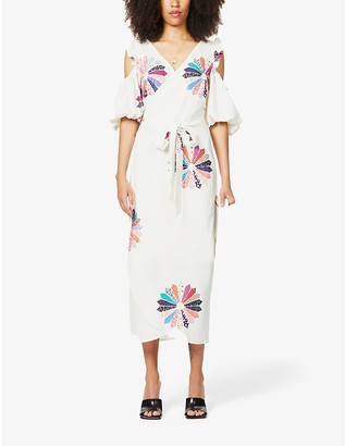 NEVER FULLY DRESSED Patchwork floral stretch-crepe midi dress