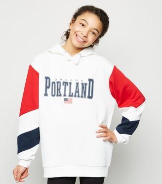 New Look Girls Portland Slogan Colour Block Hoodie