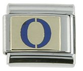 Sabrina Silver Stainless Steel 18k Gold Initial Charm O Blue Enamel for Italian Charm Bracelets