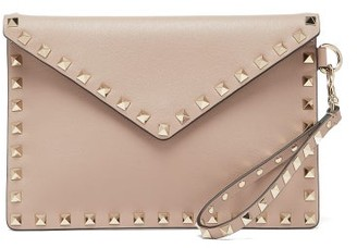 Valentino Rockstud Leather Pouch - Nude