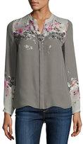 Elie Tahari Vivian Long-Sleeve Floral-Print Silk Blouse, Multi