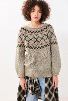 Ecote Cassie Fair Isle Off-The-Shoulder Sweater