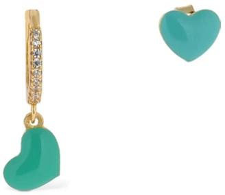 Mia'S Asymmetric Embellished Heart Earrings