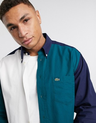 Lacoste relaxed fit logo oxford shirt with colour blocking in navy
