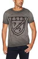Buffalo David Bitton Men's Tacal Ss Dyed Slub Fabric Crewneck Graphic Fashion T-Shirt