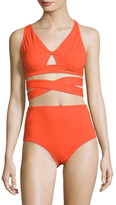 Proenza Schouler Solid V-Neck Bikini Top and Bottom Set