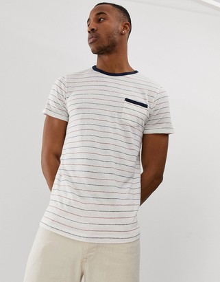 Selected stripe t-shirt with pocket in linen mix organic cotton-White