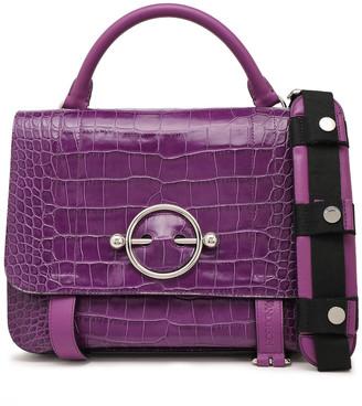 J.W.Anderson Disc Large Lace-up Croc-effect Leather Shoulder Bag