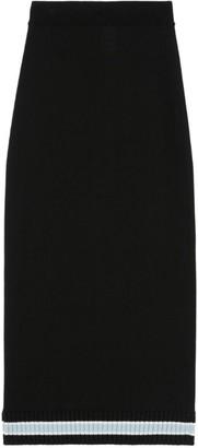 Burberry Ribbed Stripe-Detail Knit Skirt