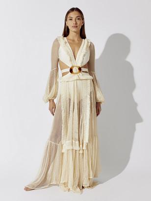 PatBO Long Sleeve Fringe Beach Dress