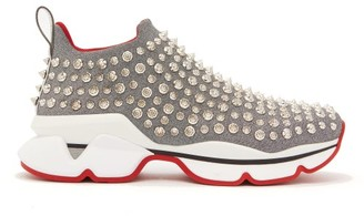 Christian Louboutin Spiky Sock Crystal-studded Neoprene Trainers - Silver