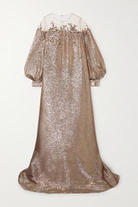 Oscar de la Renta Embroidered Sequin-embellished Tulle-trimmed Silk-blend Lame Gown - Metallic