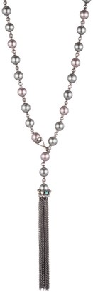 Carolee Imitation Pearl Chain Tassel Pendant Adjustable Necklace