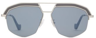 Loewe Geometrical Aviator Metal Sunglasses - Womens - Silver