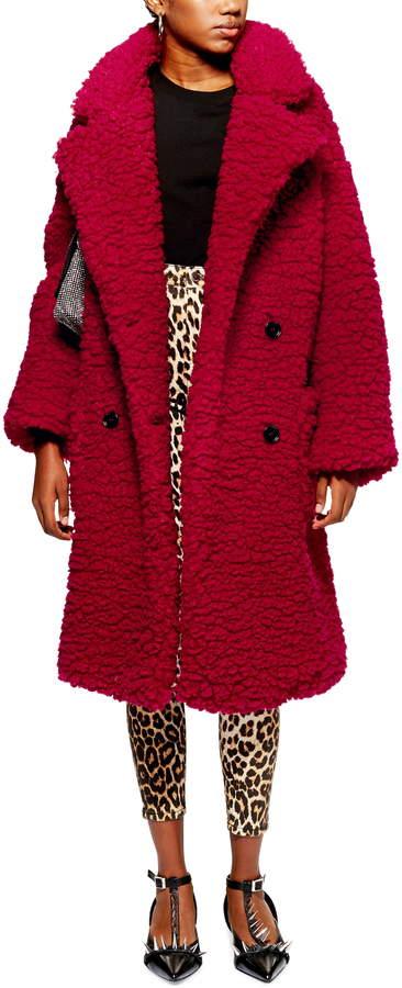 Topshop Big Borg Faux Fur Long Coat
