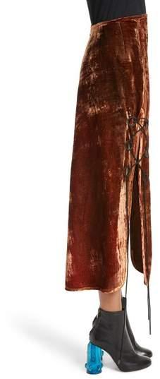 Ellery Women's The Blues Lace Up Crushed Velvet Midi Skirt