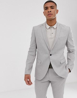 Selected slim suit jacket in sand linen stretch