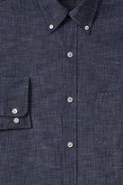 Lands' End Men's Tailored Fit Buttondown Chambray Shirt-Deep Blue Indigo