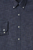 Lands' End Men's Tall Tailored Fit Buttondown Chambray Shirt-Deep Blue Indigo