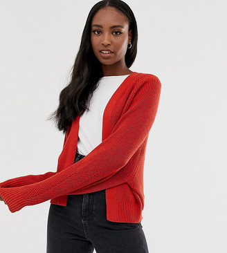 Asos Tall DESIGN Tall mixed rib cardigan in recycled blend-Red