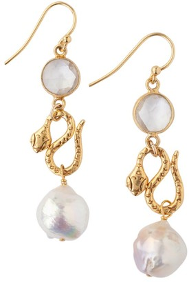 Chan Luu 11-12mm White Akoya Baroque Pearl Drop Earrings