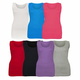 Denim Desire Womens Ladies Plus Size Stretchy Ribbed Vest Top Summer T Shirt Top UK Size 14-28 (Turquoise 16)